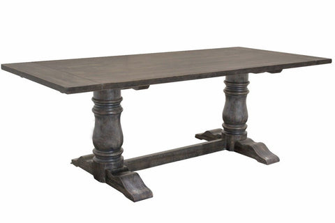 Liza Weathered Gray Pedestal Dining Table