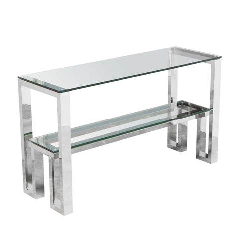 Carlsbad Console Table with Clear Glass Top with Shelf