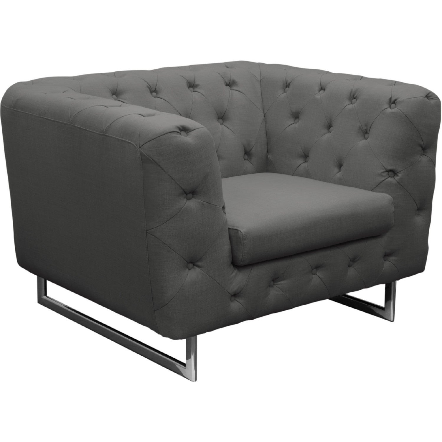 catalina grey tufted tub chair