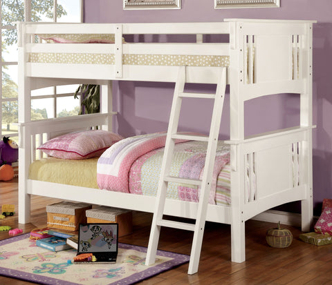 White Finish Twin/Twin Bunk Bed