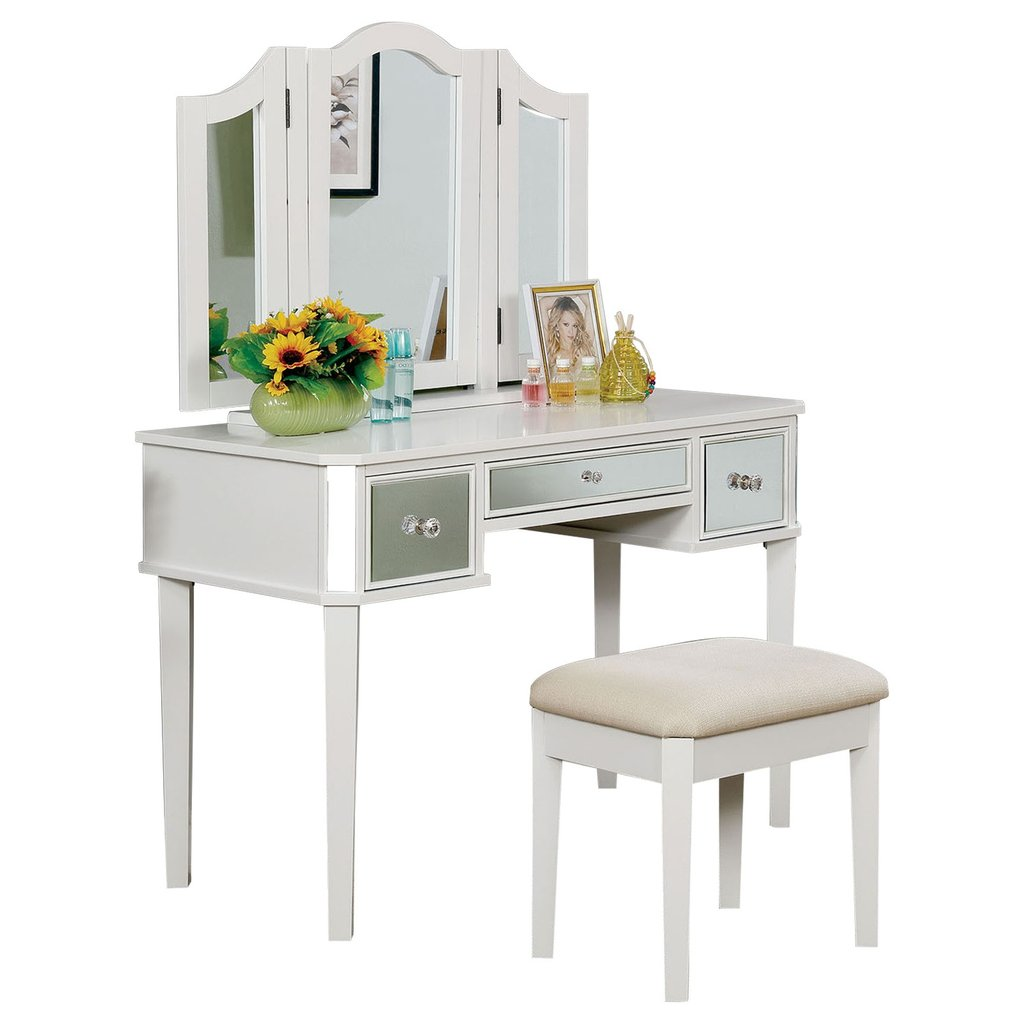 Clarisse Vanity Table with Bench Set, White – Interior Gallerie