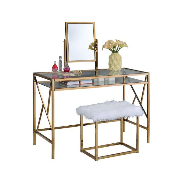 Lismore Vanity Table with Bench Set, Gold – Interior Gallerie