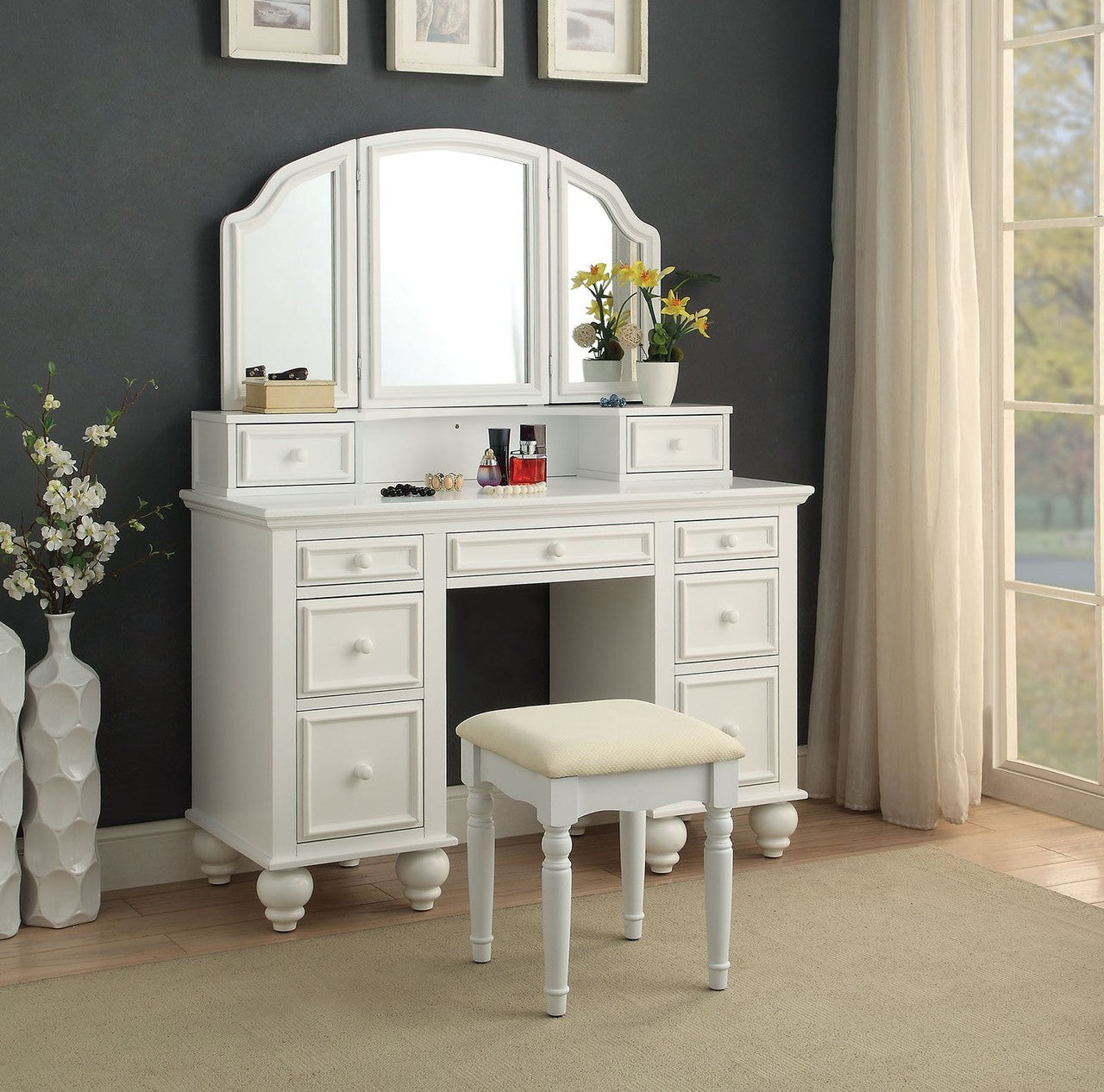 Athy Vanity Table with Bench Set, (Choose Color) – Interior Gallerie