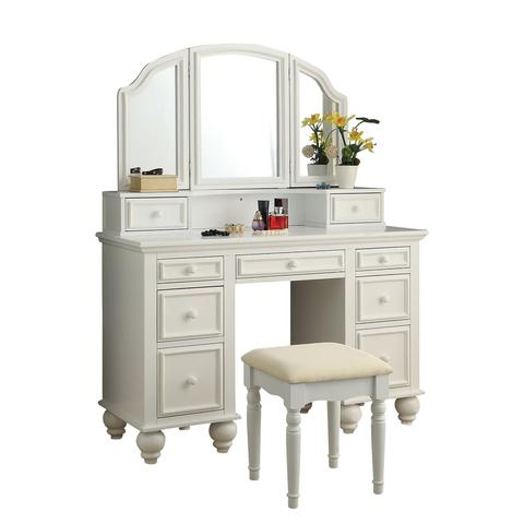Athy Vanity Table with Bench Set, (Choose Color)