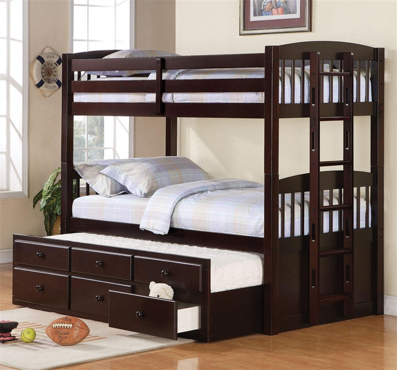 Logan Twin Twin Bunk Bed With Trundle Storage Drawers Interior