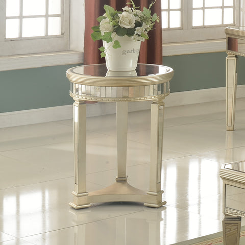 Silver Mirrored With Gold Brushing Round End Table