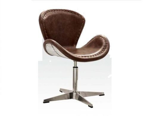 Retro Brown Leather Aluminum Swivel Accent Chair