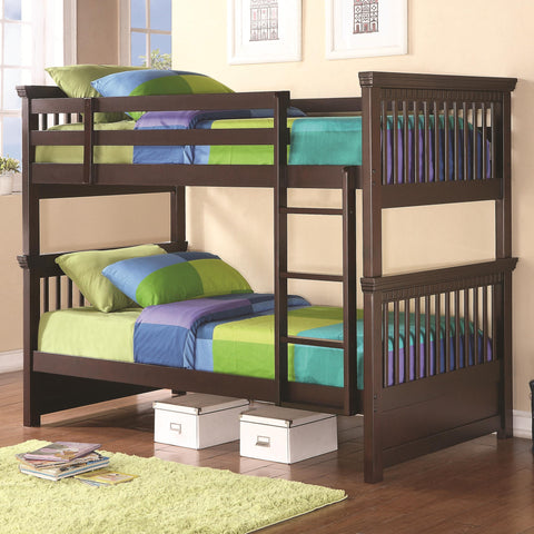 Oliver Twin Twin Bunk Bed with Spindle Headboard and Footboard