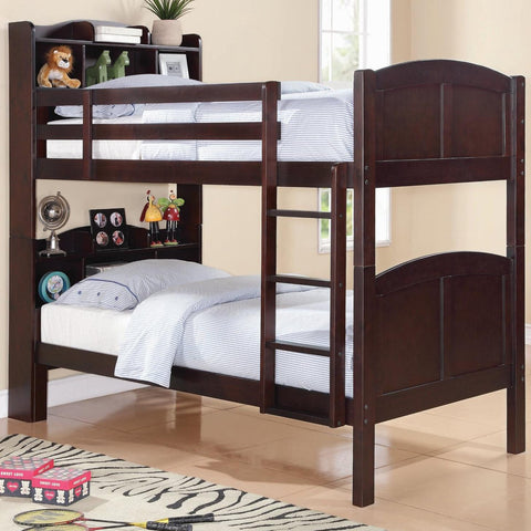 Parker Twin/Twin Bookcase Bunk Bed with Built-In Ladder