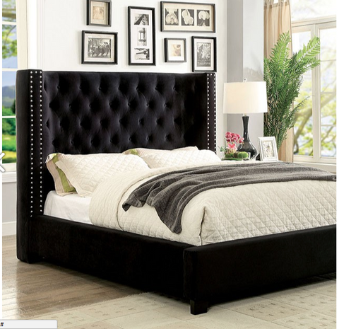 Cayla Upholstered Bed, Black