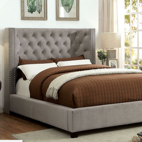 Cayla Upholstered Bed, Gray