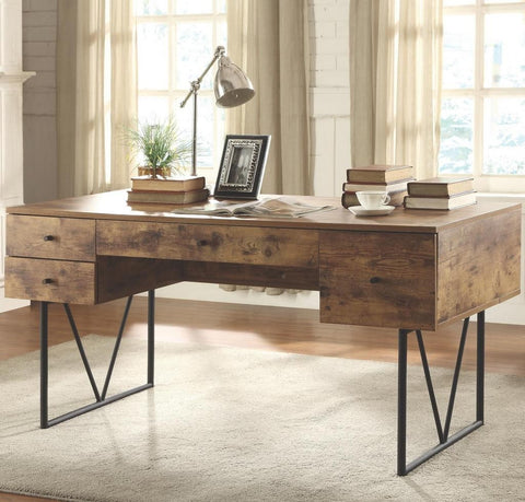 Industrial Writing Desk w/ 4 Drawers, Antique Nutmeg Finish