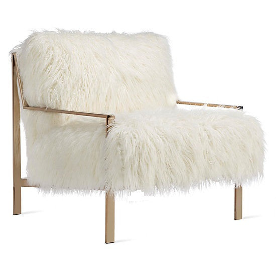 Faux Fur Champagne Metal Frame Chair