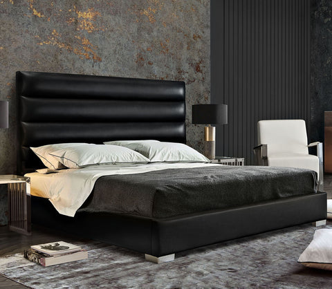 Bardot Black Leatherette Channel Tufted Bed