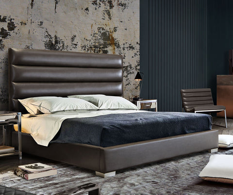 Bardot Grey Leatherette Channel Tufted Bed