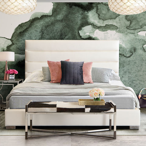Bardot White Leatherette Channel Tufted Queen Bed