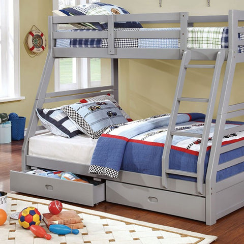 Gray Finish Twin/full Bunk Bed W/ 2 Drawers