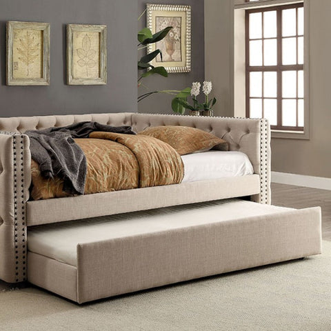 Comtemporary Tufted Daybed With Trundle, Ivory