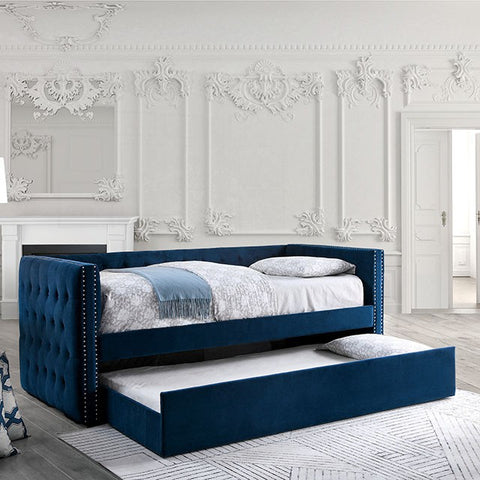 SusannaTufted Daybed With Trundle, Navy blue