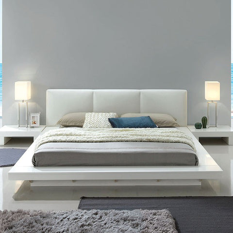 Christie High Gloss White Upholstered Platform Bed