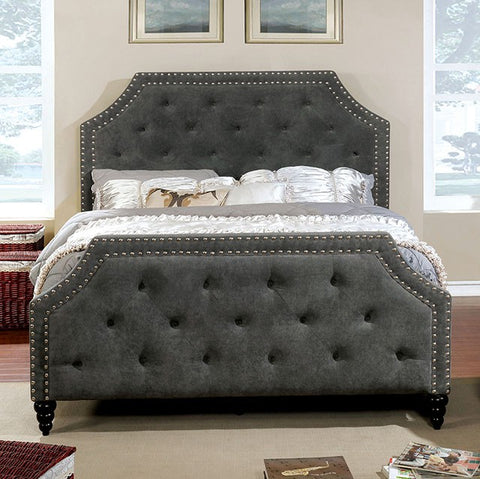 Adhara Upholstered Bed, Gray