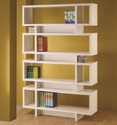 Modern Four Tier Bookcase, in White