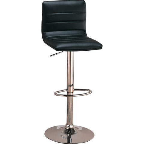 Contemporary Black Leatherette Adjustable Bar Stool, Set of 2