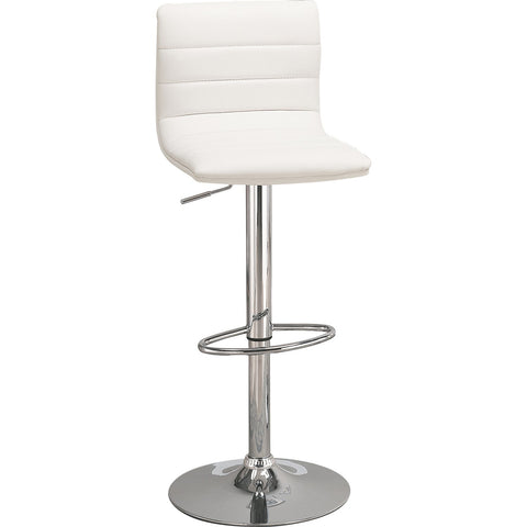 Contemporary White Leatherette Adjustable Bar Stool, Set of 2
