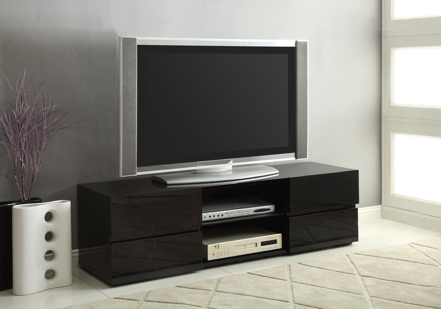 Contemporary Style 4 Drawer Black Tv Stand Interior Gallerie # Contemporary Tv Stands