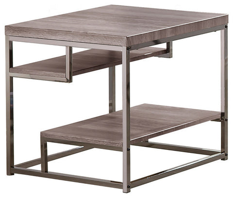 Grey Chrome Frame End Table