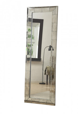 Silver Beveled Glass Floor Mirror