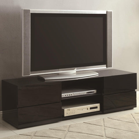 contemporary style 4 Drawer Black Tv Stand