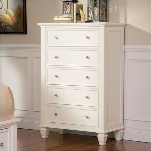 Sandy Beach White 5 Drawers Chest