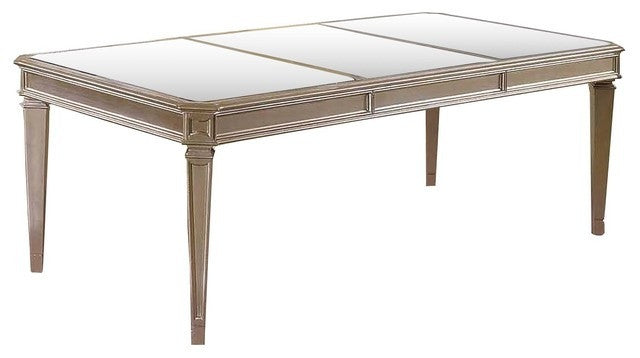 Bronze Champagne With Mirror Top Dining Table