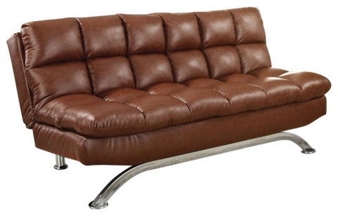 ARISTO SADDLE BROWN LEATHERETTE FUTON SOFA BED