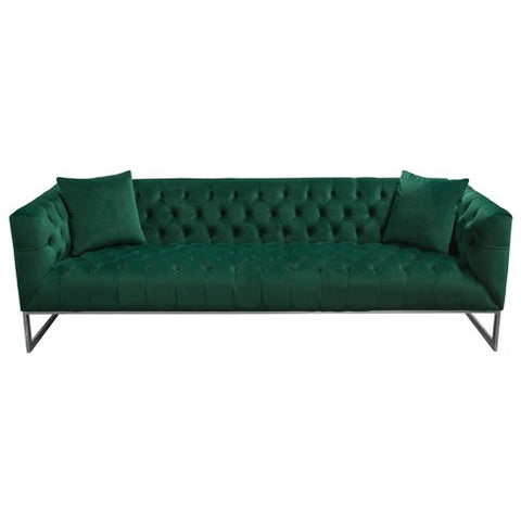 Crawford Tufted Sofa, Emerald Green