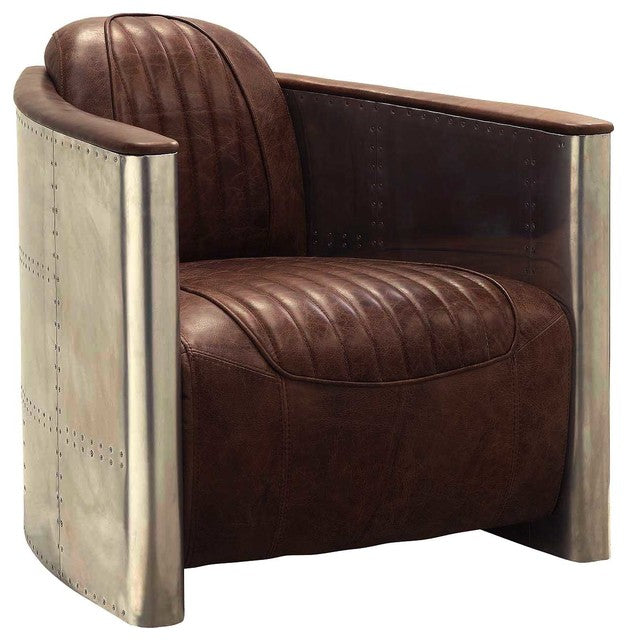 Brancaster Aluminum And Top Grain Leather Accent Chair, Retro Brown