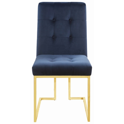 Evianna Set of 2 Dining Side Chairs Blue Velvet