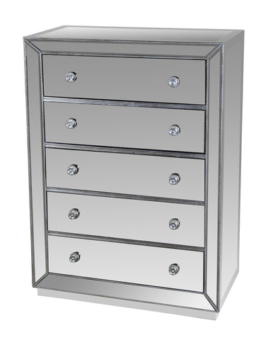 Mirrored Silver 5 Drawer Chest