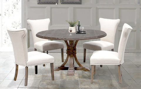 Brown Weathered Round Dining table Set