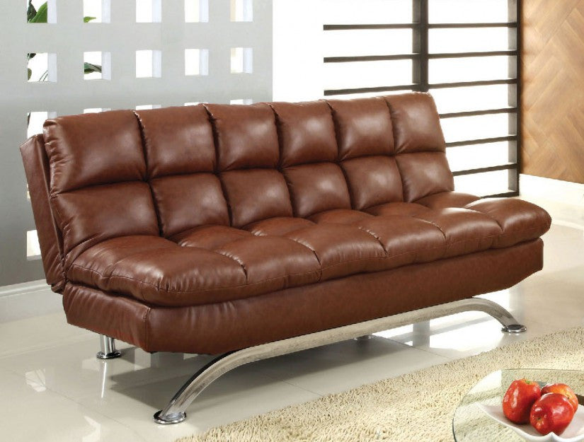 Pleasing Aristo Saddle Brown Leatherette Futon Sofa Bed Caraccident5 Cool Chair Designs And Ideas Caraccident5Info