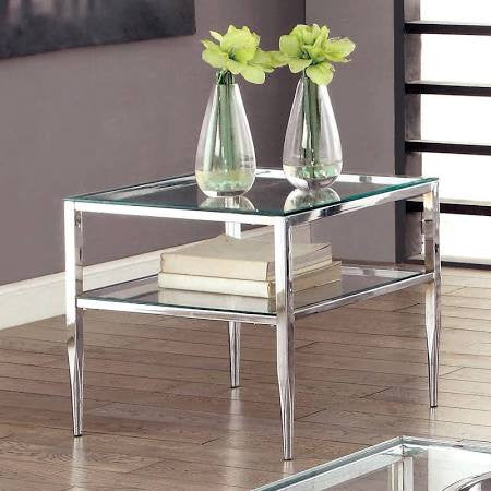 Silver Metal End Table