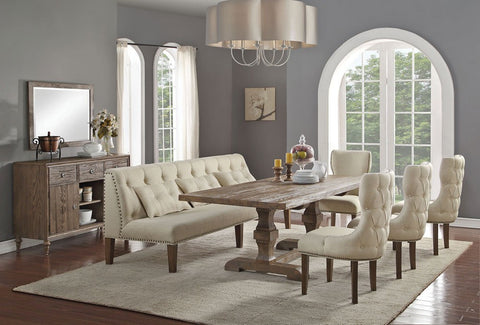 Abigail Oak Finish Pedestal Dining Table Set
