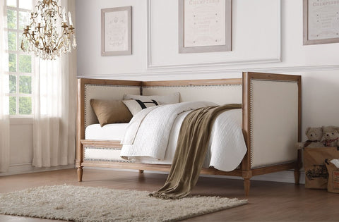 Salvage Oak Finish Daybed With Cream Linen Fbric