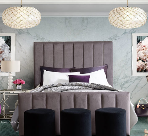 Venus Vertical Channel Bed in Mauve Velvet