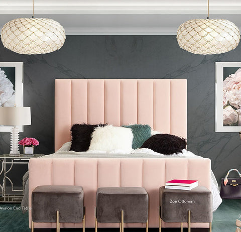 Venus Vertical Channel Bed in Blush Velvet