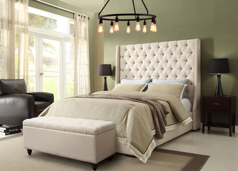 Park Avenue Tufted Bed With Vintage Wing, Sand Linen