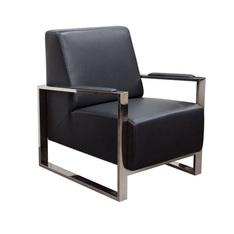 Century Black Premium Bonded Leather Accent Chair