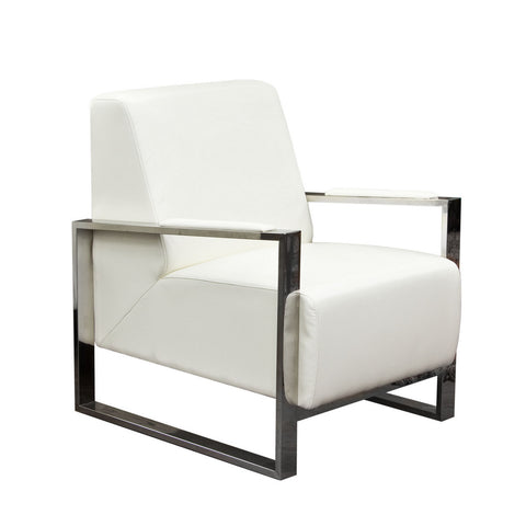 Century White Premium Bonded Leather Accent Chair