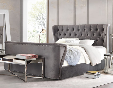 Allure Royal Grey Tufted Velvet King Bed